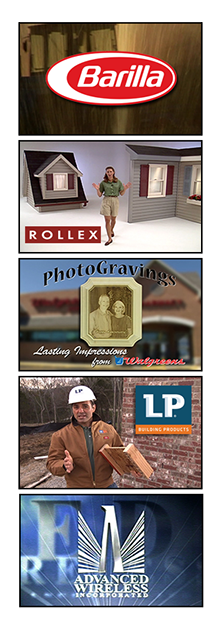 Images from our productions for Barilla, Rollex, Walgreens, Louisiana-Pacific and Advanced Wireless.